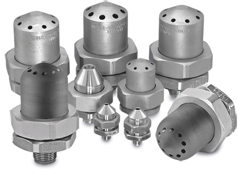 grouping of stainless steel FloMax nozzles