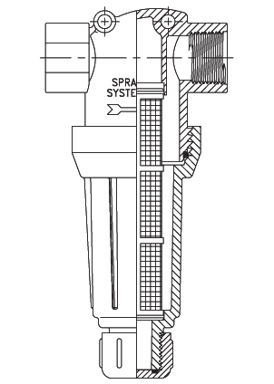 line drawing of t-style strainer